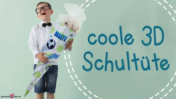 3D-Schultüte für Jungen mit Fußbällen und Namen