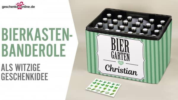 Geschenkidee für Männer - Bierkasten-Banderole als DIY-Biergarten