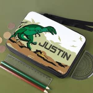 personalisierte Dinosaurier-Federmappe mit T-Rex