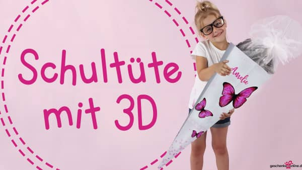 3D-Schultüte für Mädchen mit Schmetterlingen und Namen